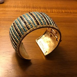 Lily Pulitzer bangle. Gold, navy, turquoise.